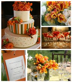 Orange and green and yellow, only more muted, and herbs in an orange pot, love table cloth and black chairs