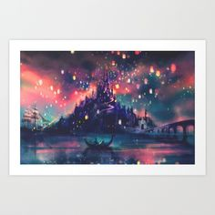 This was my absolute favorite part durring the movie, Tangled!  The floating lanters is SUCH a beautiful idea. :3   I LOVE THIS!    The Lights Art Print by Alice X. Zhang | Society6