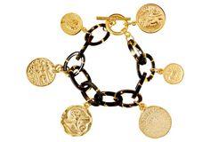 Gold Coins on Tortoise Chain Bracelet