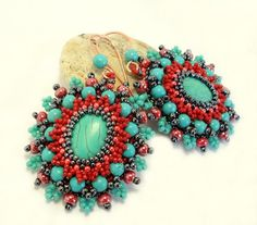Bead Embroidery earrings in Red and Turquoise by CrownofStones, €46.00