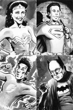Dave Wachter's Seinfeld Superheroes Illustration, Featuring Jerry Seinfeld as Superman, Julia Louis-Dreyfus as Wonder Woman, Michael Richards as The Flash, & Jason Alexander as Batman! Jerry Seinfeld, Julia Louis Dreyfus, Comic Book Superheroes, Comic Books, South Park, Superman, Seinfeld Quotes, Batman Meme, George Costanza