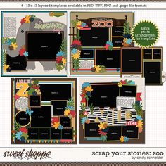Cindy's Layered Templates - Scrap Your Stories: Zoo by Cindy Schneider Scrapbook Templates, Scrapbook Sketches, Photo Drop, Zoo Photos, Photo Arrangement, Page Layout, Layouts, Layout Template, Your Story
