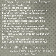 That about sums it up. I am myself a professional pinner too!How can I make a career??? lol