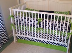 Modern Green and Navy Blue Crib Bedding by butterbeansboutique