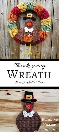 Crochet the Thanksgiving Wreath to decorate your home for the big feast! It's a free pattern for your holiday decor collection. Lots of helpful photos!