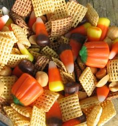 Harvest party snack mix.  I filled the waffle cone cornucopias with this snack mix.  Yummy, but a bit messy to make.  Of course I made it late at night and dumped chocolate over the mix instead of drizzled.