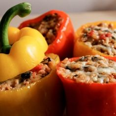 Ground Turkey Stuffed Peppers - I added 8oz chopped mushrooms with the onions and sauteed, then topped the stuffed peppers with a mix of bread crumbs and parmesan cheese. Keep covered with foil & bake 35 min, then uncover and broil 5 min to brown the topping. Delicious & healthy!
