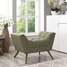 Modway Response Fabric Ottoman in Oatmeal