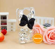 HTC ONE X rhinestone  crystal decorated  bow phone cover case- shipped from China. $24.99, via Etsy.