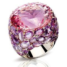 One-of-a-kind ring from Pomellato's Pom Pom Collection.  Ring in white gold, morganite, pink sapphires and diamonds.