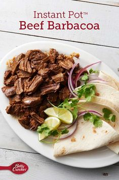 Instant Pot™ Beef Barbacoa Make your favorite burrito, bowl or tacos at home with this easy Instant Pot™ barbacoa. It's full of slow-cooked flavor without the day-long cook or barbecue pit! Stew Meat Recipes, Roast Recipes, Mexican Food Recipes, Cooking Recipes, Healthy Recipes, Shredded Beef Recipes, Keto Recipes, Shredded Beef Tacos, Mexican Shredded Beef