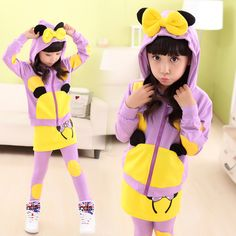 2015 Spring and fall Girls catoon printing Older children clothing set active 2 piece set For