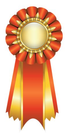 Orange Rosette Ribbon PNG Clipart Picture