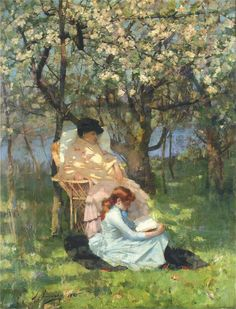 John Lavery (1856-1941), Convalescence in the Apple Orchard.