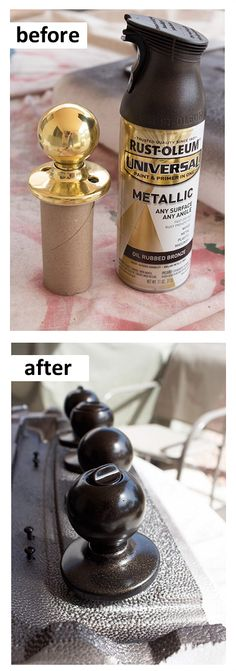 DIY doorknob makeover with paint! How to transform dated brass doorknobs with Rust-Oleum bronze metallic paint. It really works! Do It Yourself Design, Do It Yourself Home, Home Renovation, Home Remodeling, Old Door Knobs, Ideias Diy, Home Upgrades, Home Repairs, Diy Home Improvement