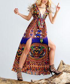 Another great find on #zulily! Blue Geometric Cleopatra Silk-Blend Maxi Dress by Parides  #zulilyfinds