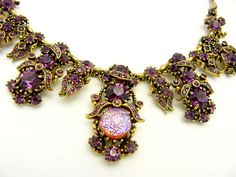 Vintage Hollycraft 1958 Purple Aurora Borealiscat' Eye Rhinestone Necklace Huge | eBay