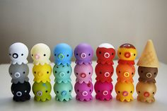 Kawaii toys in a rainbow of colors