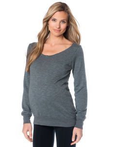 Solow Long Sleeve Boat Neck Relaxed Fit  Maternity Sweatshirt