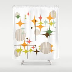 Mid Century Modern Starbursts and Globes 3 Shower Curtain