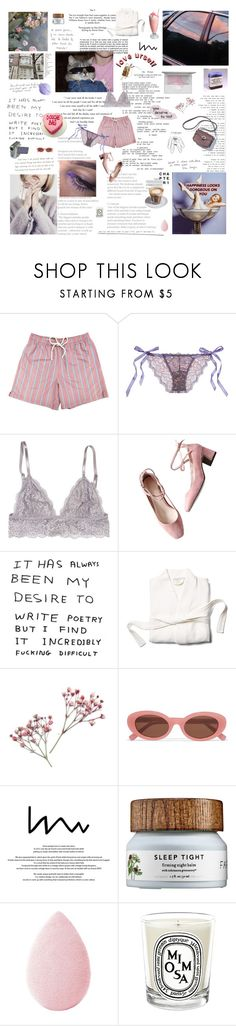 """""""having myself a #selfcare kinda birthday"""" by lonaxos ❤ liked on Polyvore featuring Gatsby, Hanky Panky, GET LOST, Coyuchi, Elizabeth and James, Saeco, beautyblender and Diptyque"""