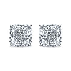 14k White Gold Flirtation Square Diamond Stud Earrings Gabriel Co