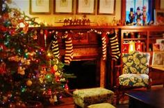 Christmas tree and fireplace ...cozy