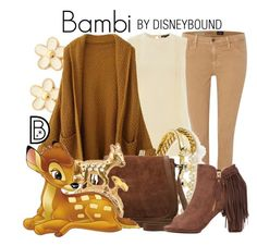 Bambi by leslieakay on Polyvore featuring polyvore, fashion, style, Warehouse, AG Adriano Goldschmied, Akira Black Label, M&Co, Marc by Marc Jacobs, BaubleBar, disney, disneybound and disneycharacter