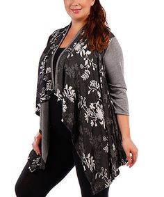 Love this Black Floral Drape Open Cardigan - Plus on #zulily! #zulilyfinds