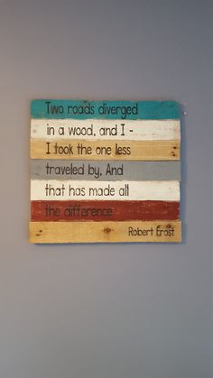 Two roads diverged Robert Frost poem rustic by AnnGeeWoodSigns