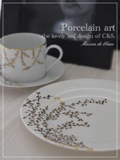 『ゴールドleafのC&S』 China Painting, Ceramic Painting, Ceramic Design, Porcelain Ceramics, Vintage Tea, Leaf Design, Tea Set, Cup And Saucer, Decoration