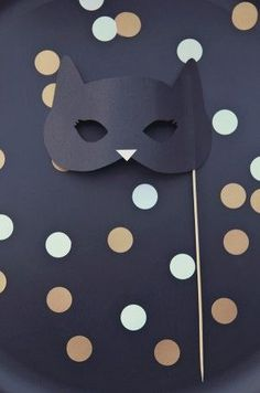 Black cat party mask photobooth prop #CatBirthday