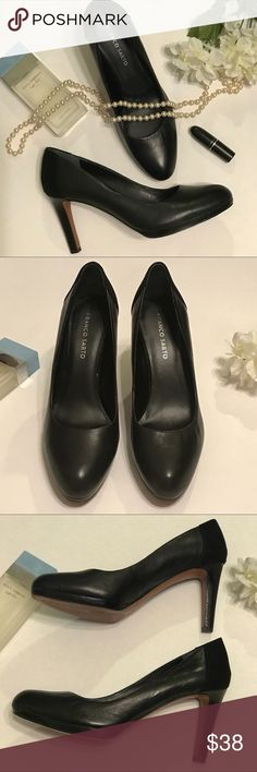 "Black Franco Sarto leather heels Black leather, round toe, Franco Sarto heels. Stacked 4"" heel. Classic style that goes with everything. Has suede on back of heel for extra texture and style. Worn twice, excellent condition, no flaws. Size 9.5M. Franco Sarto Shoes Heels"