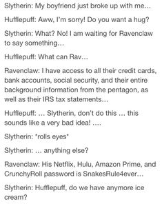 yo ravenclaws are highkey amazing and nobody ever points that out (credit: - Hogwarts Harry Potter Puns, Harry Potter Universal, Harry Potter World, Harry Potter Funny Tumblr, Slytherin And Hufflepuff, Slytherin Harry Potter, Ravenclaw Memes, Dramione, Drarry