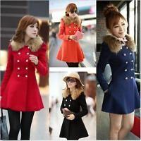 Winter Women Warm Slim Fur Collar Coat Jacket Trench Parka Outwear Overcoat Q