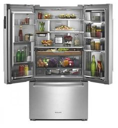 "KRFC704FSS 36"" KitchenAid 23.8 cu.ft. Counter Depth French Door Refrigerator with Panoramic LED Lighting and FreshSeal Herb Storage - Stainless Steel"