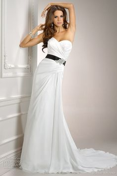 classic white wedding dress with black www.brayola.com