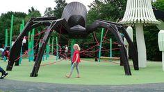 Spider and fungi playground. Designed by MONSTRUM. Near Copenhagen, Denmark. #playspace