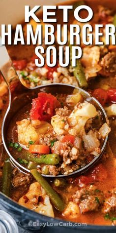 Super easy and so delicious, Low Carb Hamburger Soup is sure to become a favorite in your kitchen! Loaded with nutritious veggies and ground meat, it's satisfying and tasty for lunch or supper. #easylowcarb #lowcarbhamburgersoup #lunch #recipe #best #easy #homemade #tomato #vegetable #groundbeef #keto #groundturkey Low Carb Soup Recipes, Beef Soup Recipes, Low Carb Hamburger Recipes, Easy Low Carb Meals, Low Carb Chili Recipe, Easy Healthy Soup Recipes, Easy Meals With Hamburger, Low Carb Dinner Meals, Recipes