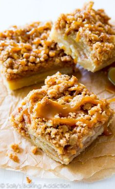 These salted caramel apple pie bars are sure to be a hit with everyone! They are so much easier to make than an apple pie, too!