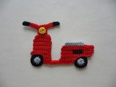 Motorroller - Häkelapplikation