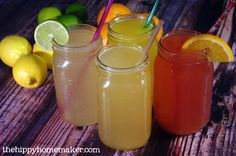 Homemade Electrolyte Drink - A Healthy Gatorade Alternative with Four Tasty Flavors - thehippyhomemaker.com