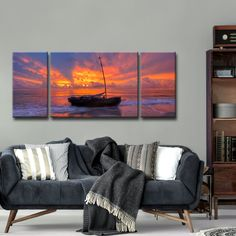 Ready2HangArt 'Shoreline's Kiss' Oversized 3-Piece Canvas Wall Décor Set by Adam Byerly - 30 x 60