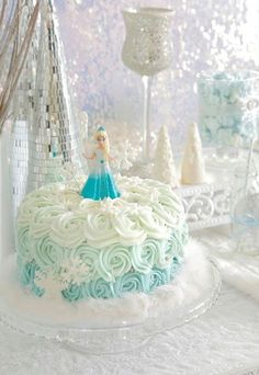 Check out the cake! Elegant FROZEN themed birthday party with SUCH DARLING IDEAS via Kara's Party Ideas   KarasPartyIdeas.com! Invitations, printables, favors, ...: