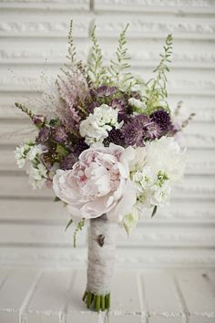 pale pink and purple wedding floral bouquet