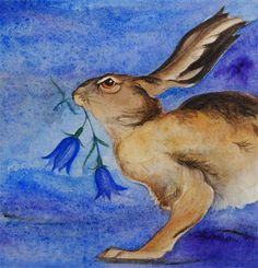 Hare's bells Watercolour Jackie Morris