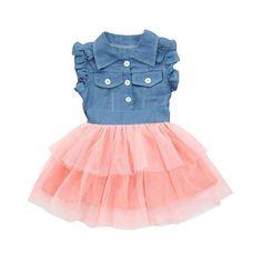 Elevin(TM) Toddler Kid Baby Girl Tulle Tutu Skirt Sleeveless Denim Lace  Summer Dresses 7fff631e9612