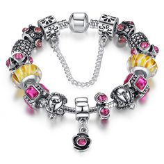 BAMOER Original Silver Charm Bracelet With Pendant for Women Wedding Authentic Safety Chain Christmas Gift Jewelry Cheap Charm Bracelets, Silver Charm Bracelet, Bangle Bracelets, Bangles, Murano Glass Beads, Crystal Beads, Crystals, Diy Jewelry, Jewellery