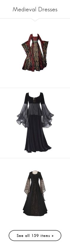 """""""Medieval Dresses"""" by goddess-of-moonlight ❤ liked on Polyvore featuring dresses, gowns, long dresses, medieval dress, medieval, medieval dresses, costumes, house tully, costume and game of thrones"""