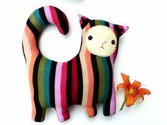 Technicolor kitty // rainbow cat // pillow plush // by sarahbrown, $42.00